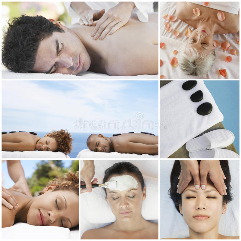 Collage of people receiving spa treatment stock photos