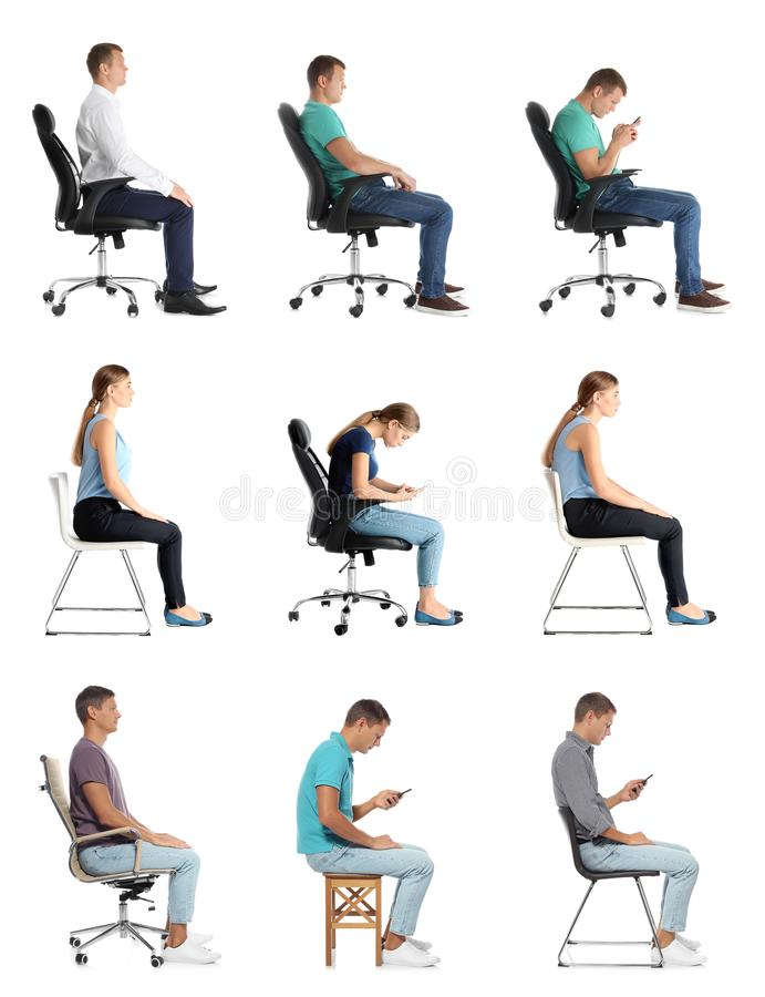 Collage of people sitting on chairs against white. Posture concept royalty free stock photo