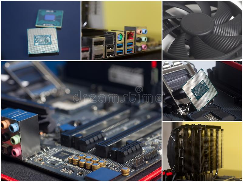 Collage of personal computer components. Close Up royalty free stock photos