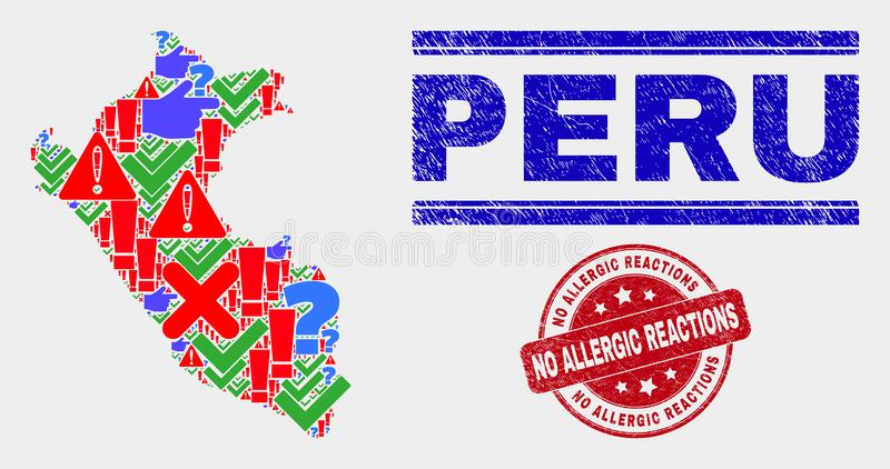 Collage of Peru Map Sign Mosaic and Scratched No Allergic Reactions Stamp Seal. Sign Mosaic Peru map and seal stamps. Red round No Allergic Reactions textured royalty free illustration