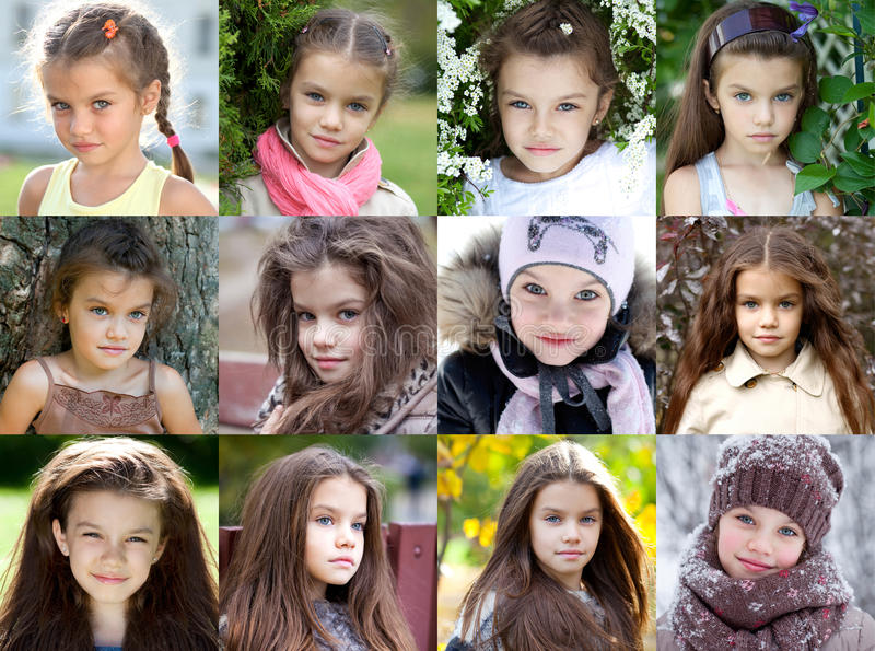 Collage, petite fille de beauté photo libre de droits