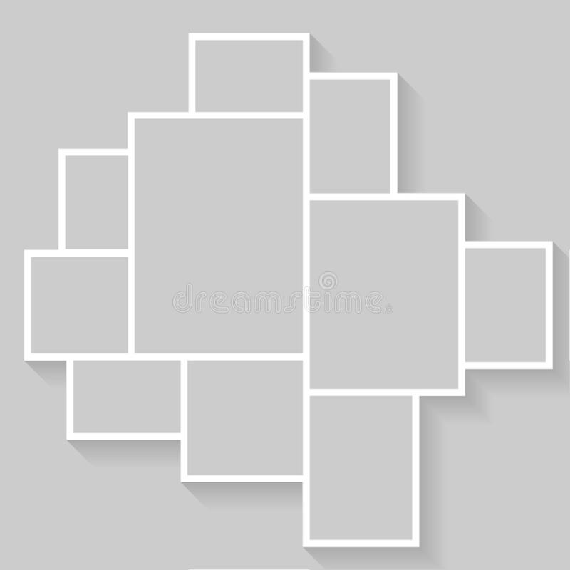 Collage photo frame template for images montage stock illustration