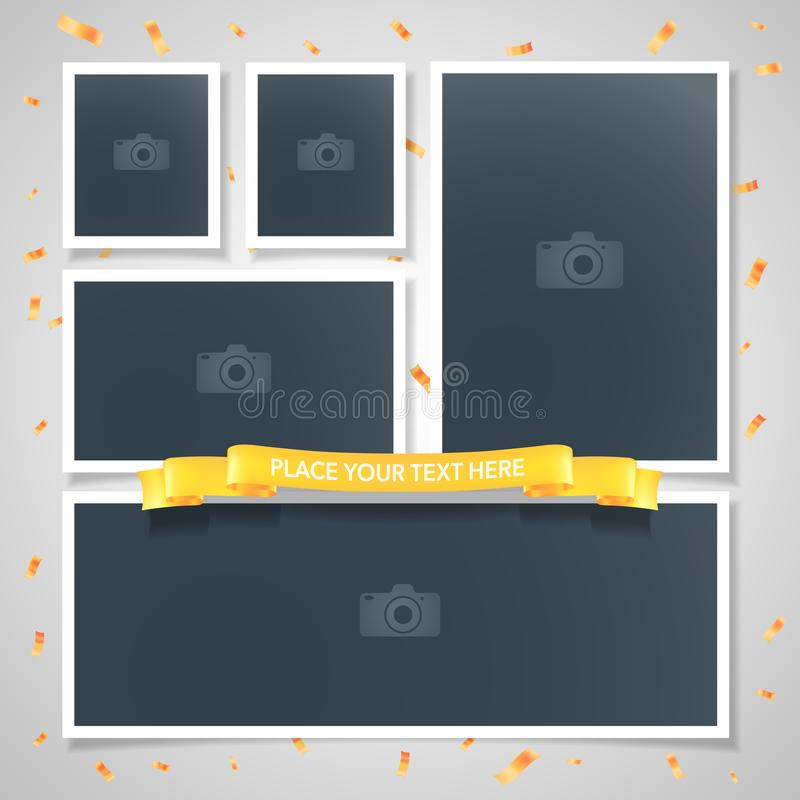 Collage of photo frames vector illustration, background stock illustration