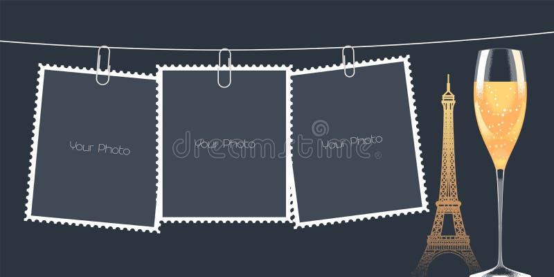 Collage of photo frames vector illustration, background stock illustration