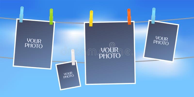 Collage of photo frames vector illustration royalty free illustration