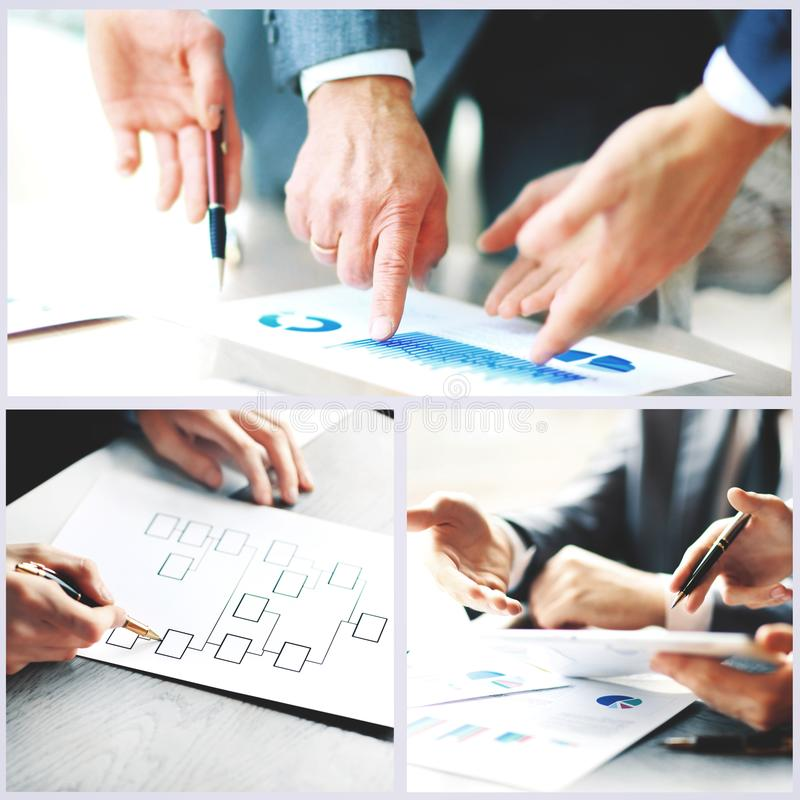 Collage photo young people working together in business royalty free stock photography