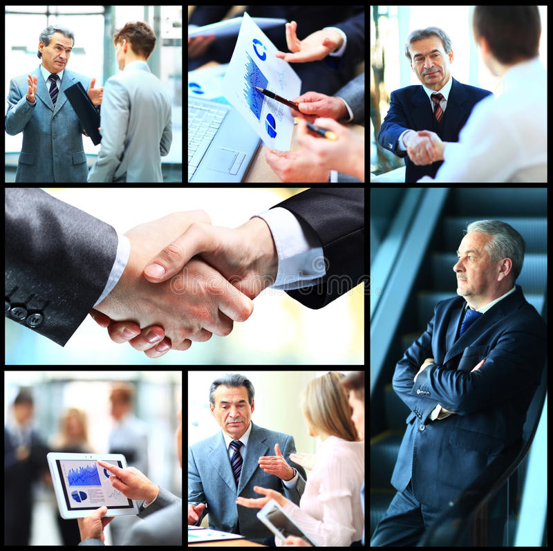 Collage of photo young people working together royalty free stock image