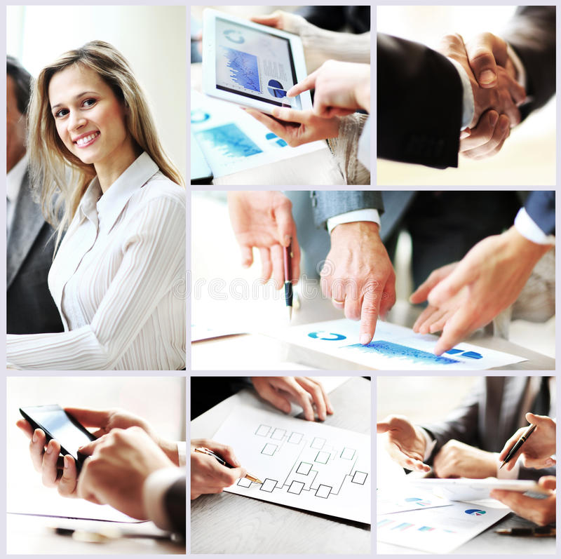 Collage photo young people working together in business stock photo