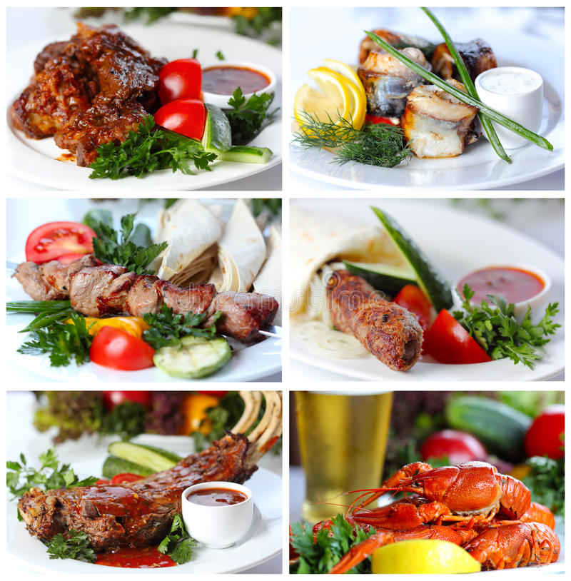 Collage from photographs of hot meat and fish dishes royalty free stock photo