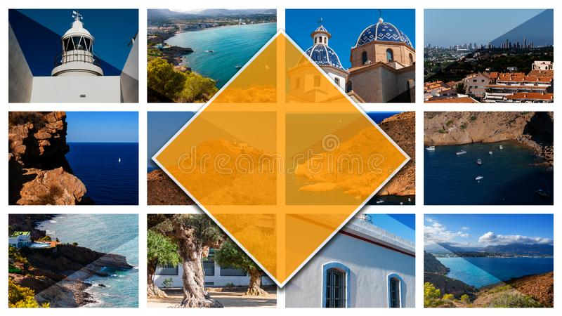 Collage photos of Altea, Spain, in 16: 9 format. stock photography