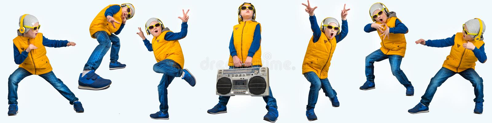 Boy dancing Hip-Hop . Children`s fashion.The Young Rapper.Cool rap DJ.A collage of photos. royalty free stock photos