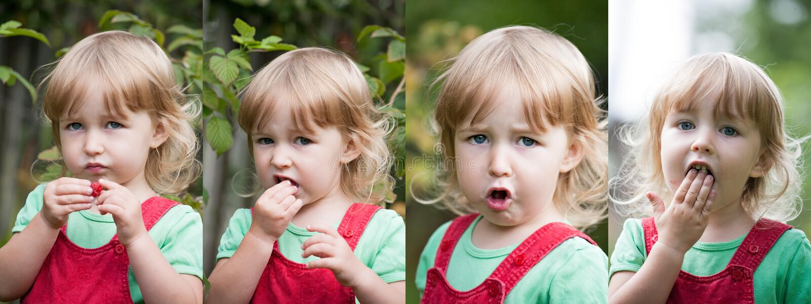 Collage of photos with  child girl chewing raspberry closeup face view royalty free stock photo
