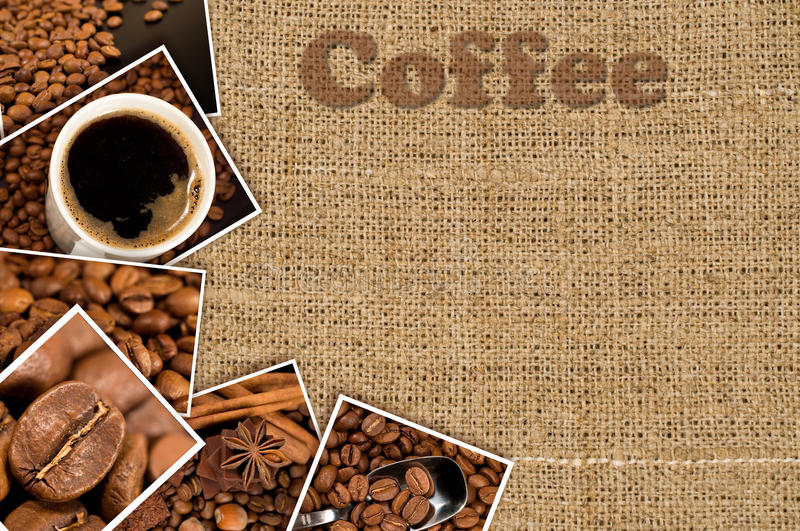 Download Collage with photos coffee stock image. Image of grunge - 28079151