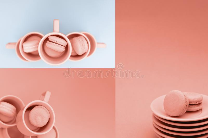 A collage of photos of coral color with macaroons stock images