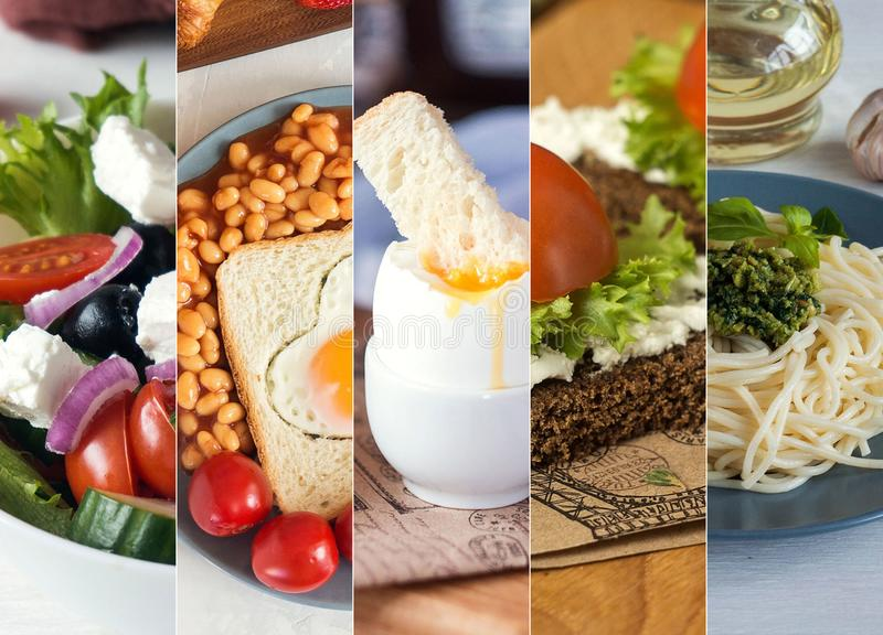 Collage from photos of different european food. Greek salad, English breakfast, scrambled eggs, sandwich, pesto pasta. stock photography