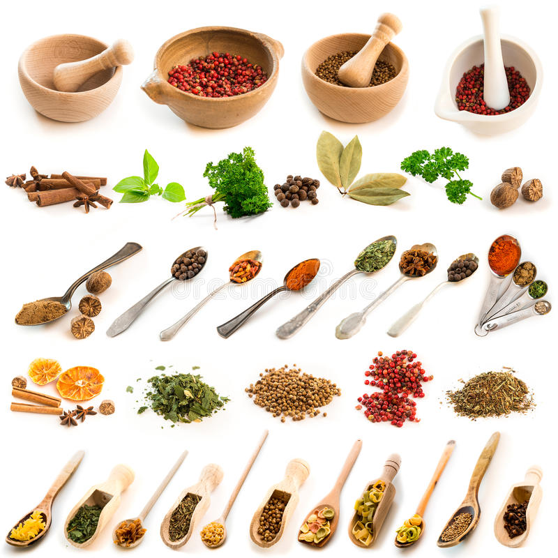 Collage of photos of different spices. On spoons and dishes on a white background stock photography