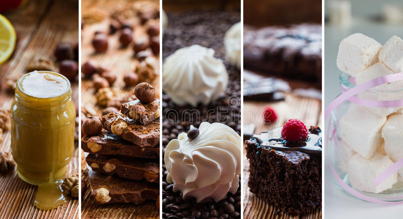 Collage from photos with different sweets. royalty free stock image