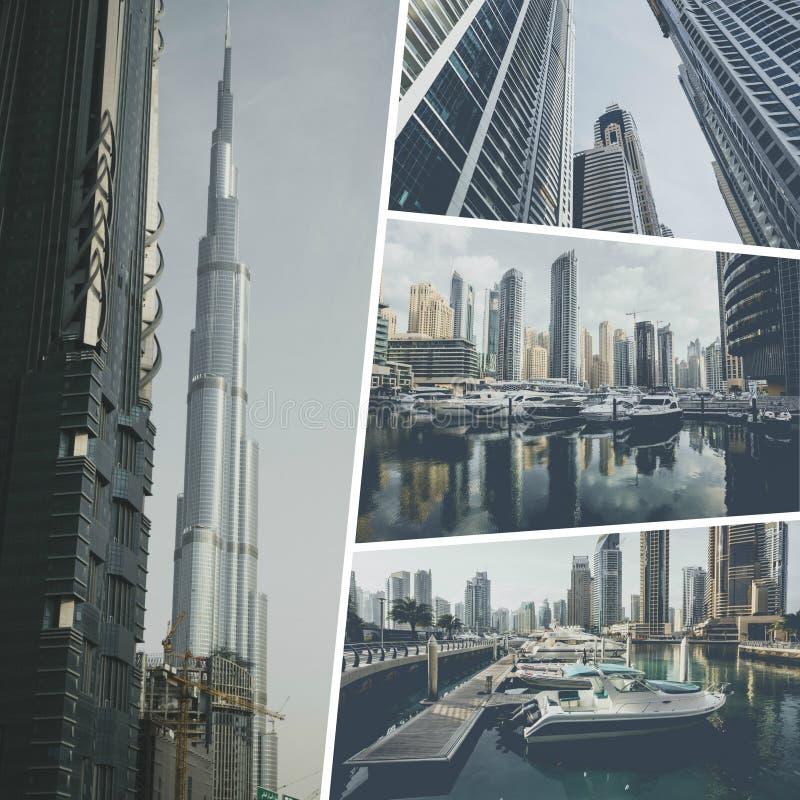Collage of photos from Dubai. UAE royalty free stock photo