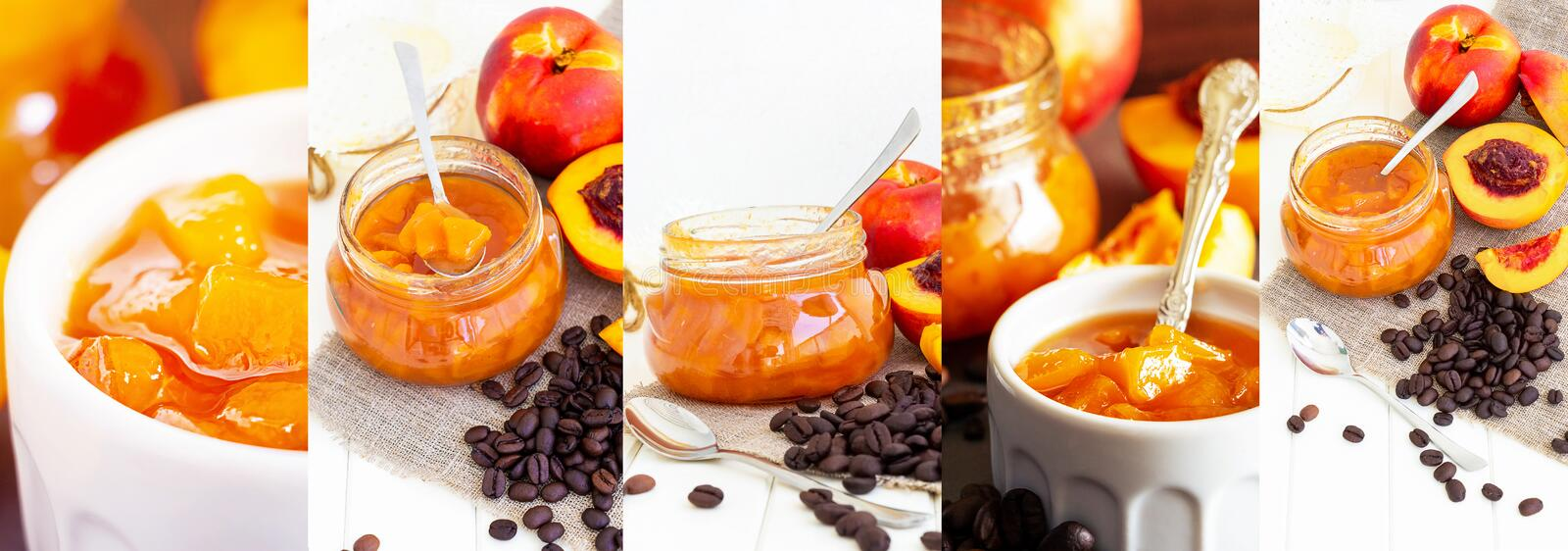 Collage photos of fruit nectarines, peach, jam and coffee beans. Light and dark background. Autumn harvest or summer billets. royalty free stock photo