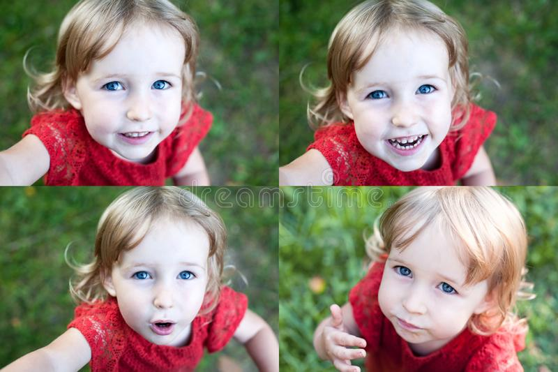 Collage of photos with funny kid girl emotional face closeup royalty free stock images
