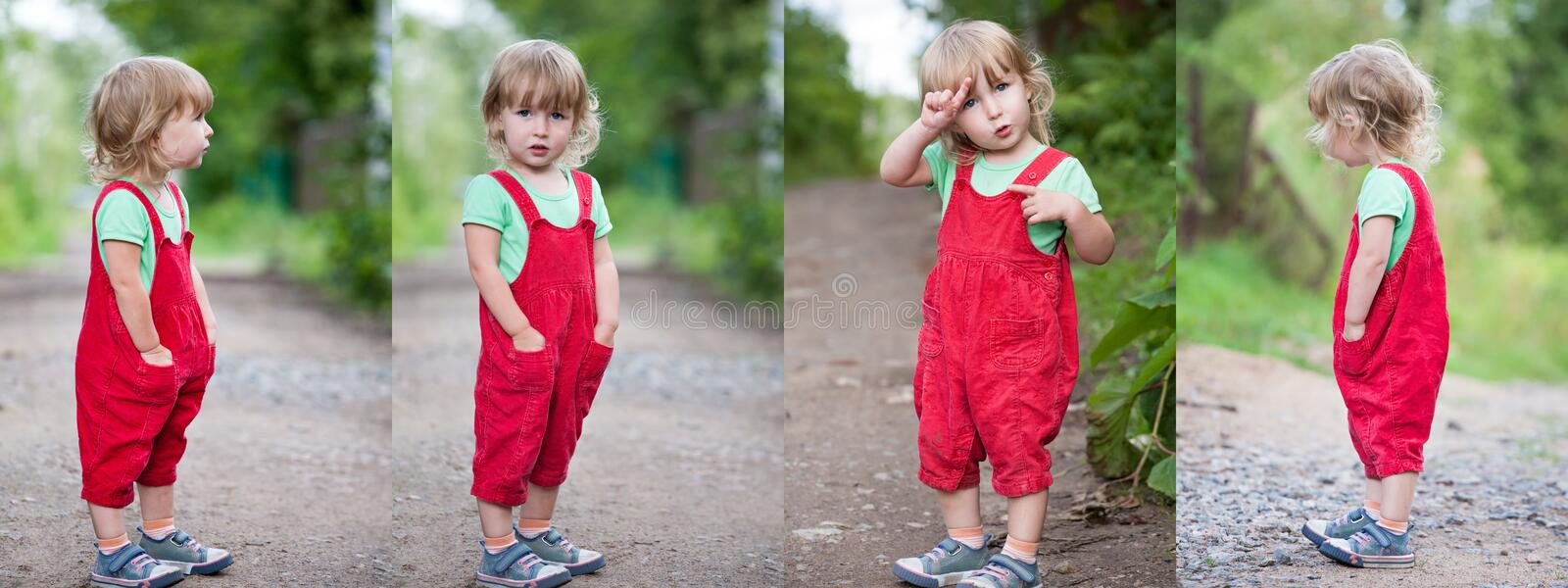 Collage of photos with funny kid girl in red pants standing tall on summer outdoor background stock images