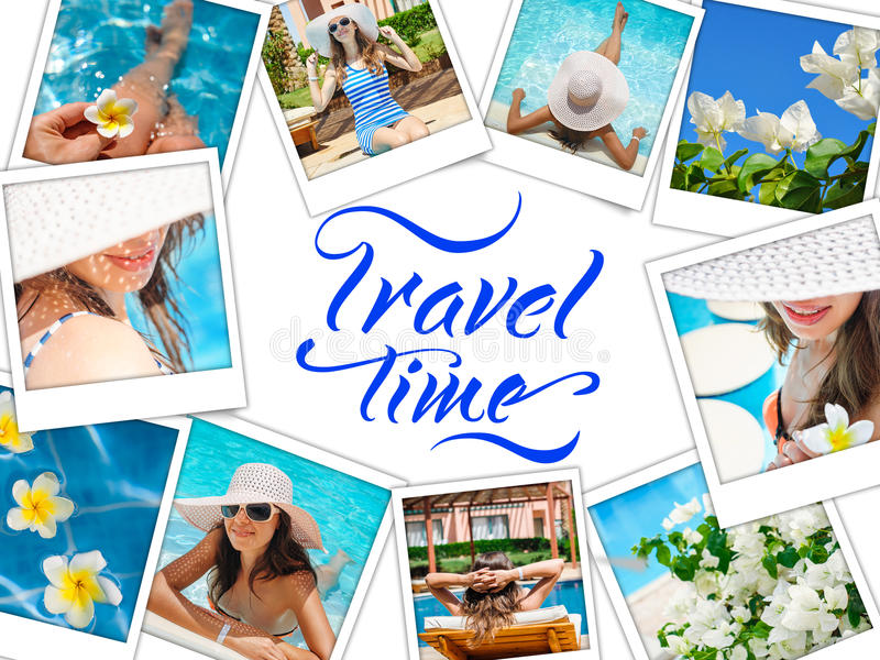 Collage with photos Happy fashion woman rest on the beach and words travel time.  stock photo