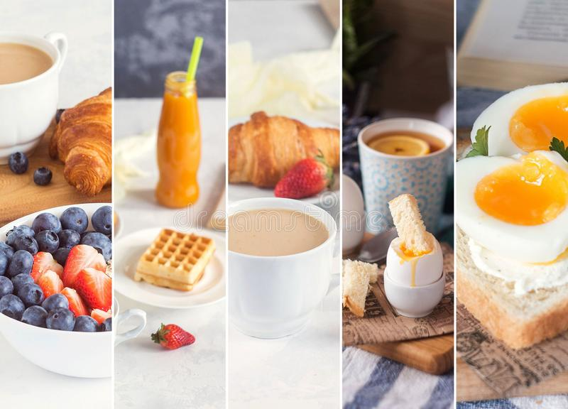 Collage from photos of healthy european breakfast with eggs, coffee, juice, smoothie and fresh berries stock images