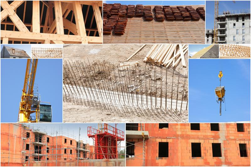 Collage of photos of the industry of construction. And building royalty free stock photography