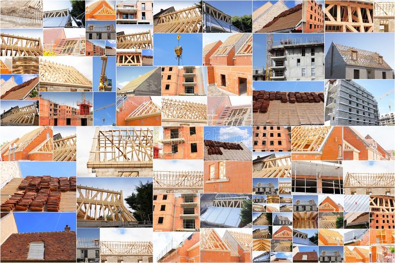 Collage of photos of the industry of construction. And building royalty free stock photos