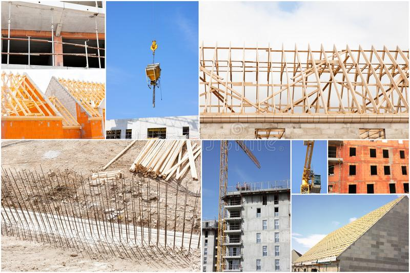 Collage of photos of the industry of construction. And building stock images