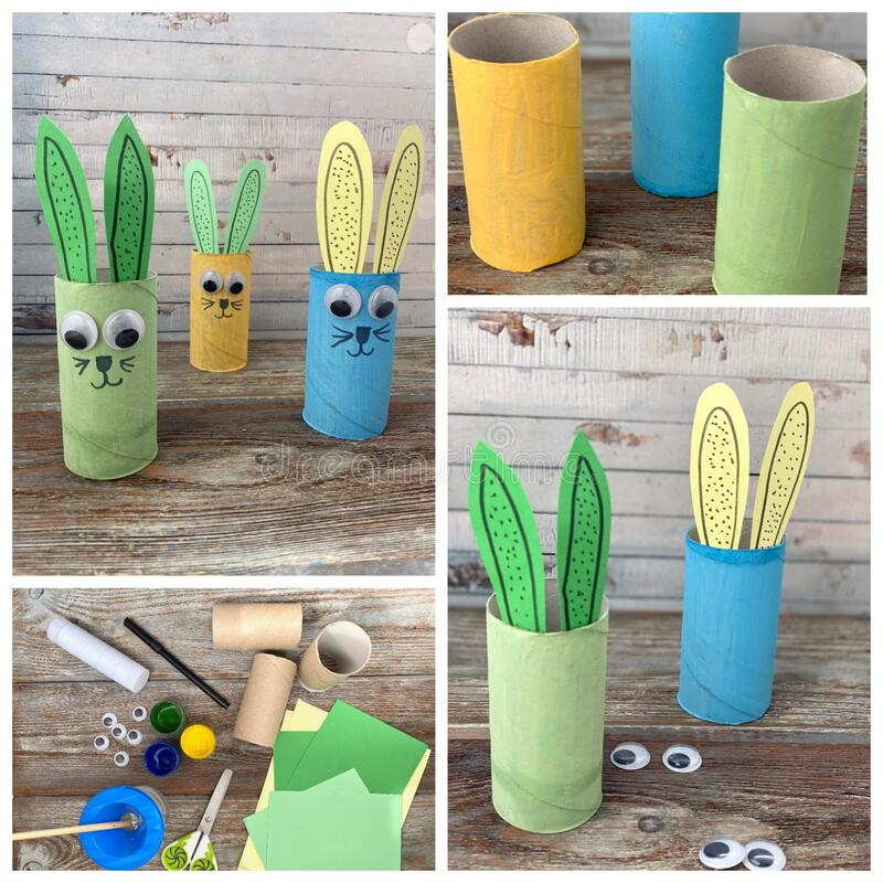 Collage of 4 photos, master class how to make a children`s craft Bunny from a roll of toilet paper. Children`s craft DIY paper roll Bunny royalty free stock images