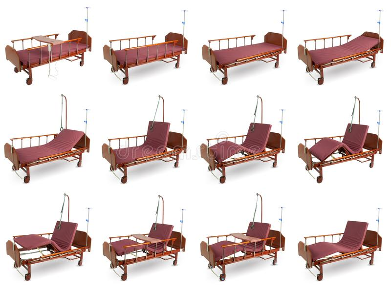 Collage of 12 photos of modern automatic bed for hospital for pe. Ople with little mobility with remote control, isolated on white background stock photo