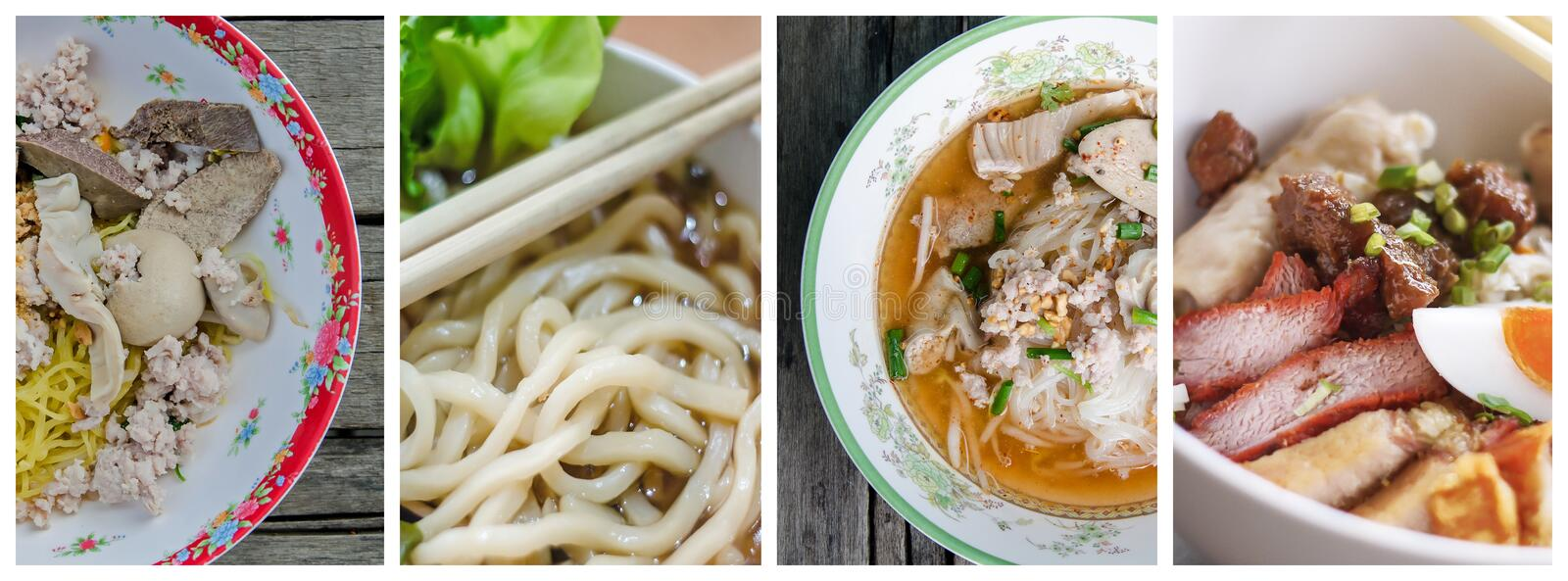 Collage photos of Noodle royalty free stock photo