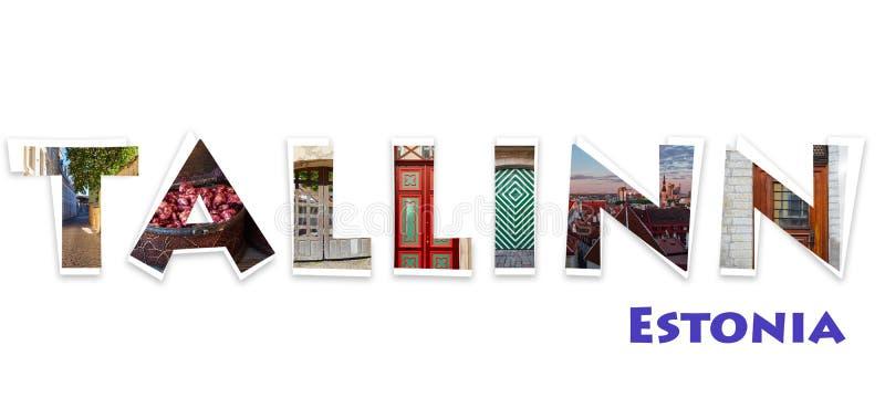 Word Tallinn on a white background stock image