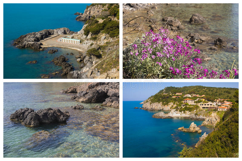 Collage with photos of Talamone sea in Tuscany royalty free stock images