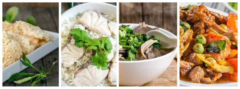 Collage photos of Thai food stock image