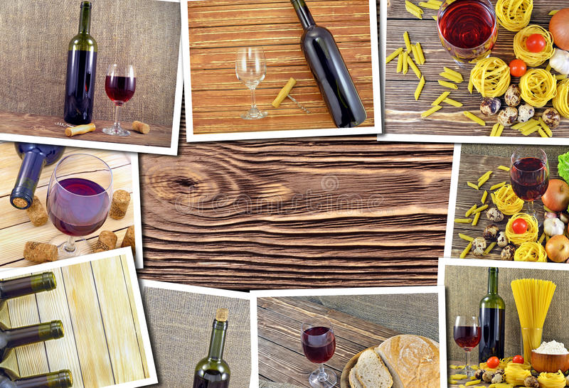 Collage of photos of wines. Collage of photos of bottles and glasses of red wine royalty free stock images