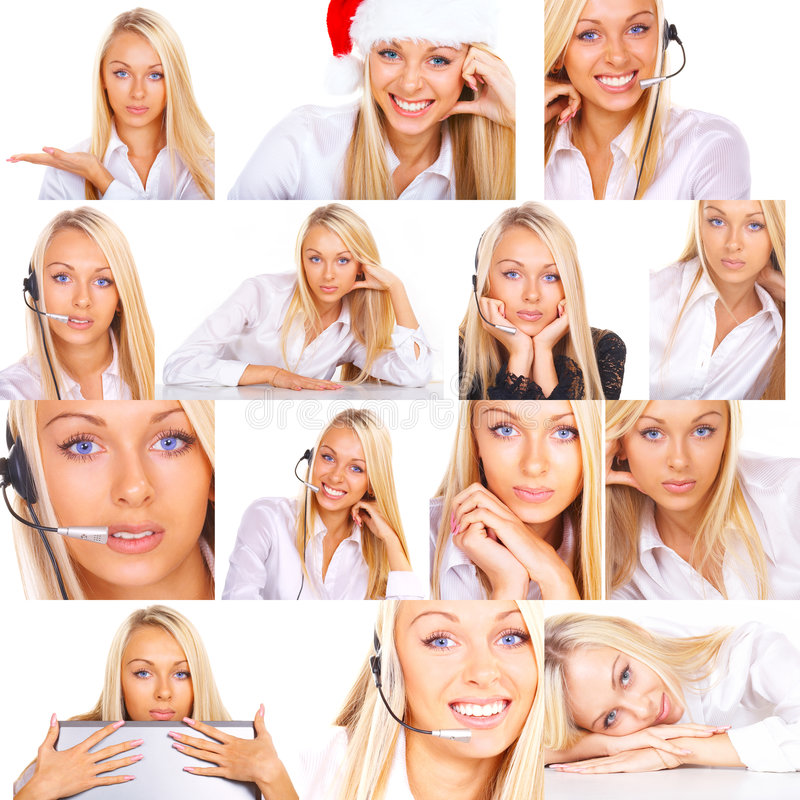 Collage of photos of woman. Collage of photos of attractive young blond woman in various poses