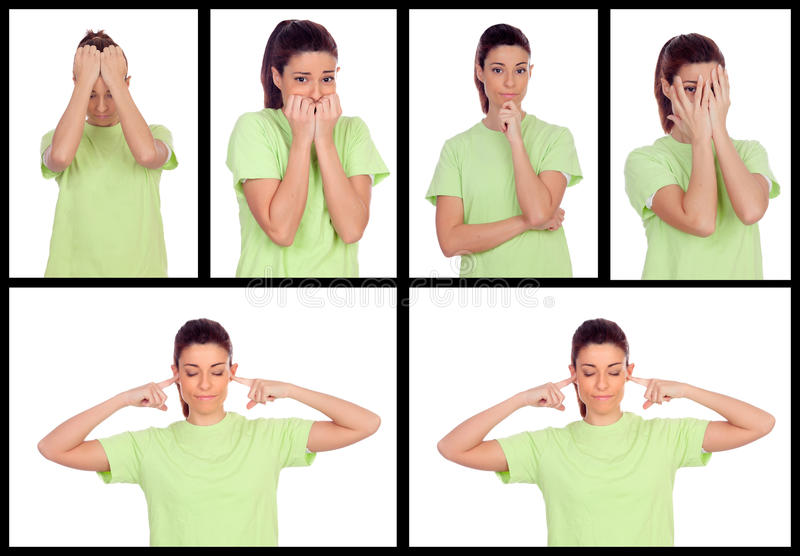 Collage of photos from a woman expressing different emotions. Isolated on a white background stock photography