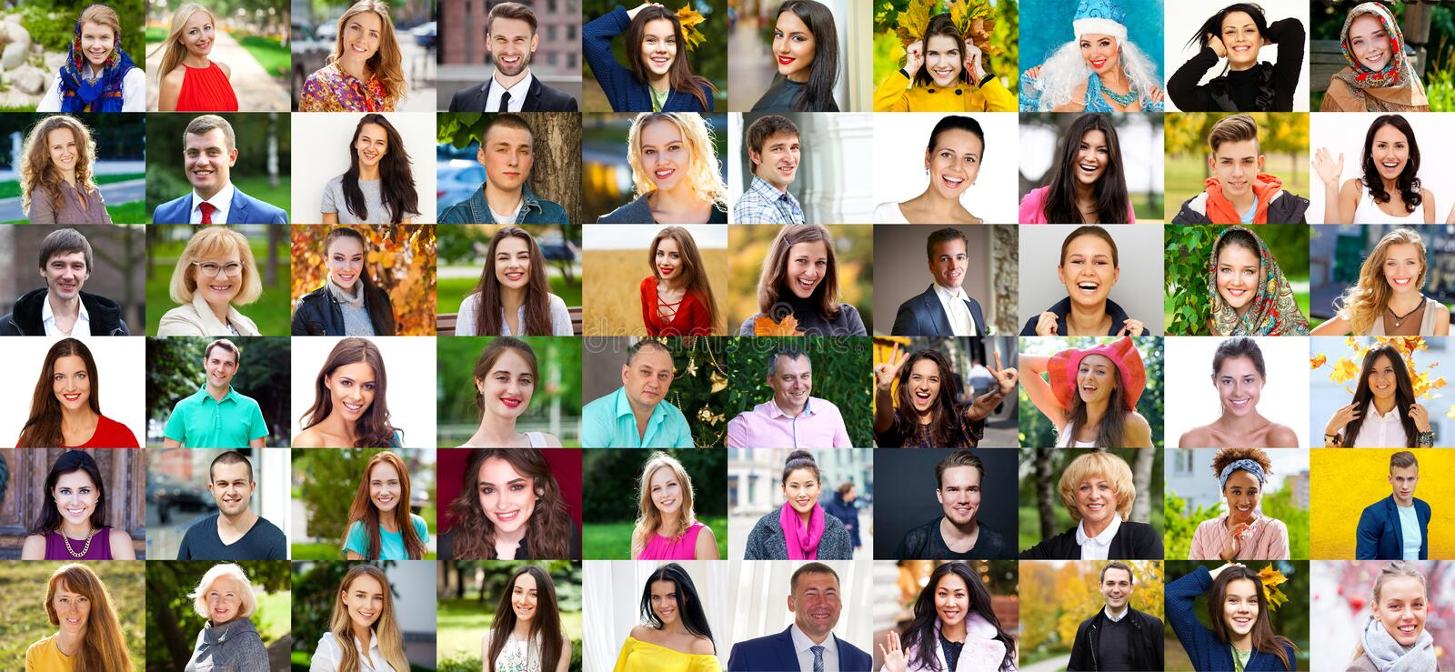 Collage photos of young and real happy people over 16 years old stock images