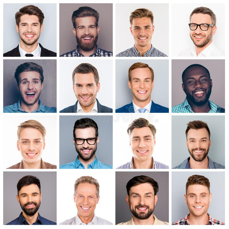 Collage picture of different multiethnic cheerful adult man expr royalty free stock image