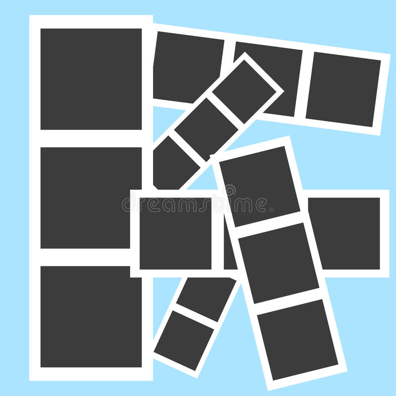 Collage picture frames on the blue background stock illustration