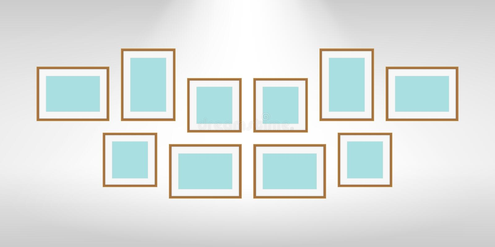 Collage picture frames on gray wall, collection of portrait frame set, mock up template picture frame, frames cute for photo royalty free illustration