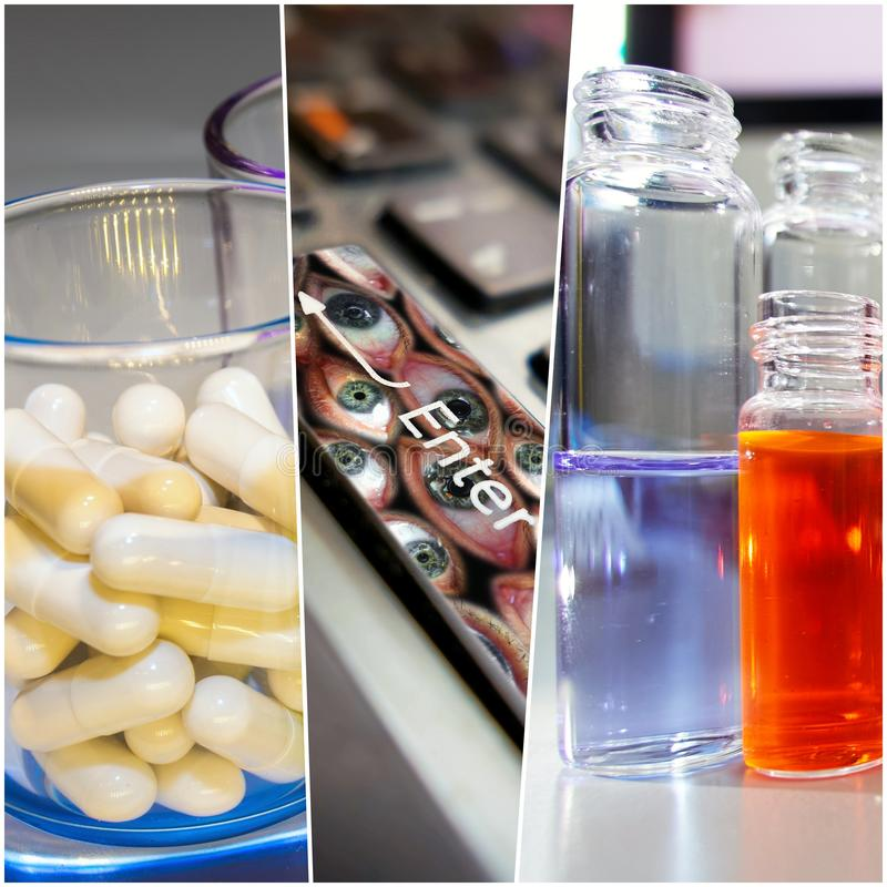 Collage pictures on scientific development of drugs in laboratory royalty free stock images