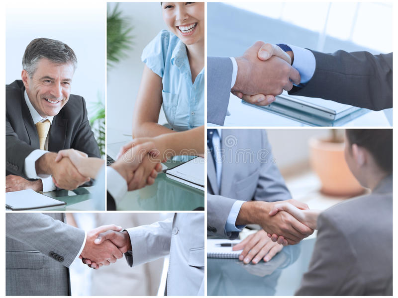 Collage of pictures showing business people stock image