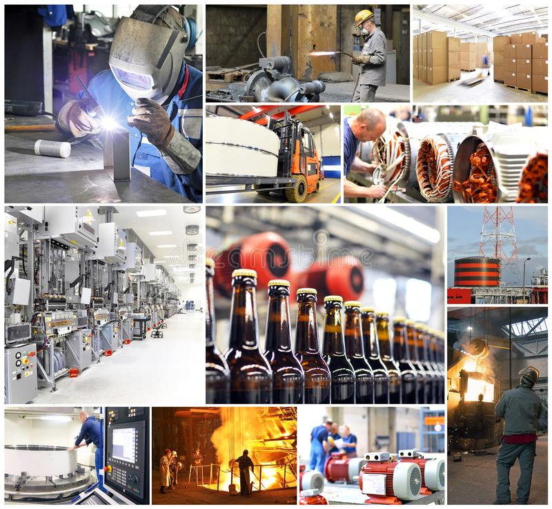 Collage with pictures from the working world - industry and crafts - workers at work stock images