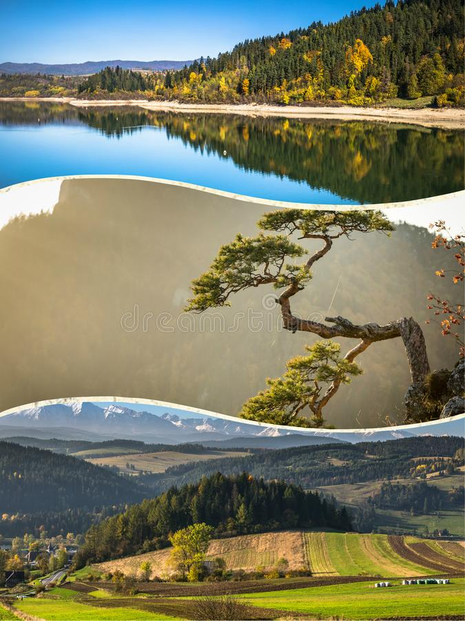 Collage of Pieniny beautiful views of the Mountains Poland. Collage of Pieniny beautiful views of the Mountains Poland stock image