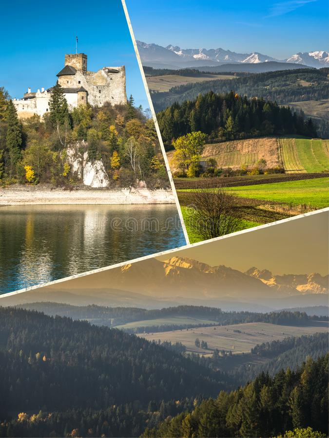 Collage of Pieniny beautiful views of the Mountains Poland. Collage of Pieniny beautiful views of the Mountains Poland royalty free stock photography