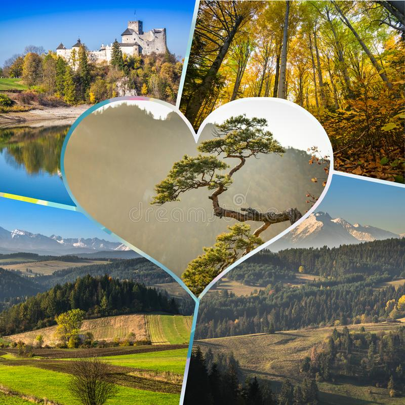Collage of Pieniny beautiful views of the Mountains Poland. Collage of Pieniny beautiful views of the Mountains Poland royalty free stock images