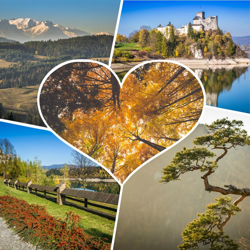 Collage of Pieniny beautiful views of the Mountains Poland. Collage of Pieniny beautiful views of the Mountains Poland stock photography